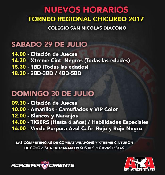 Horarios Torneo Regional de Taekwondo ATA - Chicureo 2017